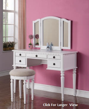 white extra large style wooden vanity table set