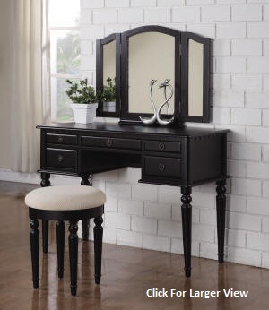 black extra large style wooden vanity table set
