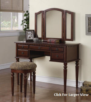 cherrywood extra large style wooden vanity table set