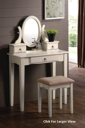 white mission style wooden vanity set