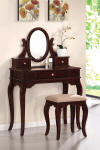 queen anne style vanity table set - cherrywood
