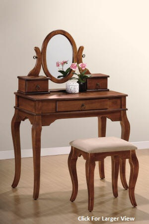 queen anne style dark oak vanity table