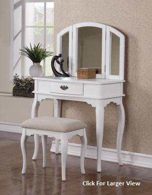 white tri-mirror style wooden vanity table set